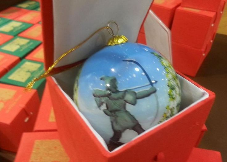 Painted Nottingham Christmas tree Bauble in presentation box, £6.99. Available in store only.