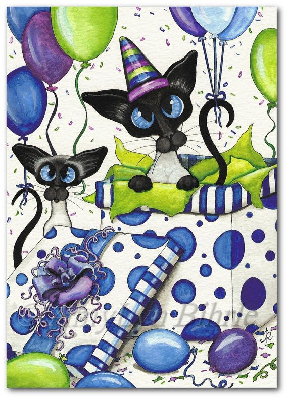 Siamese Series #372 - Title: Birthday Party! | #partytime #bdaytime #birthdays #occasionallygifts #art | Printed using only the finest materials. Archival Fine Art Matte Paper. (Matted Prints) come with backing and protective re-sealable cellophane sleeve. All images © AmyLyn Bihrle.