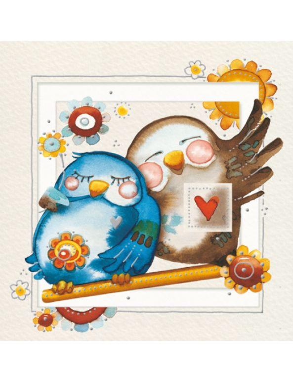 Piccolo biglietto chiudipacco Goccioline con una coppia di piccioncini - Small love card with a couple of sweet little birds by Goccioline