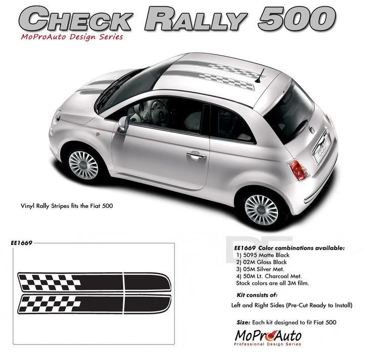 2011 2012 2013 2014 CHECK RALLY : Fiat 500 Vinyl Graphics Kit