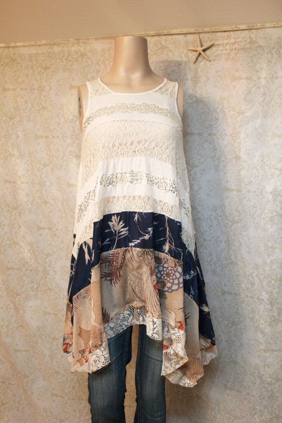 REVIVAL Boho Knit Shirt, Shabby Chic Romantic, Bohemian Junk Gypsy Style, Mori Girl, Lagenlook, Cowgirl Country Girl Chic, Free People Style, Anthropologie Inspired