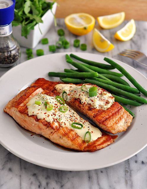 Grilled Salmon Fillets with Wasabi  Lemon Cream Sauce