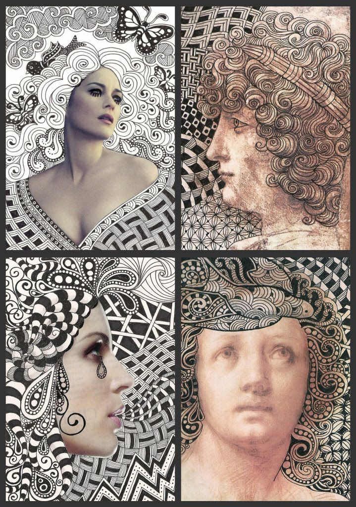 Zentangles hair, perhaps do with birth of Venus and Mona Lisa face
