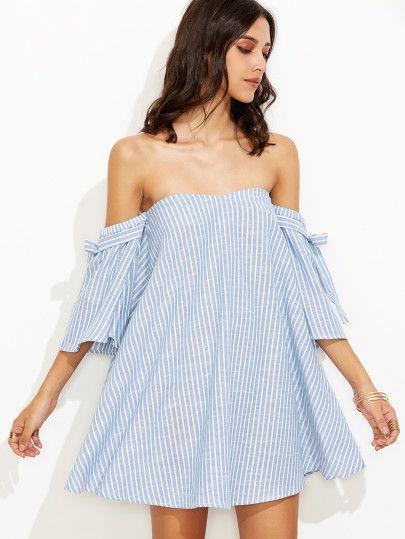 Blue Vertical Striped Off The Shoulder Swing Dress -SheIn(Sheinside) Mobile Site