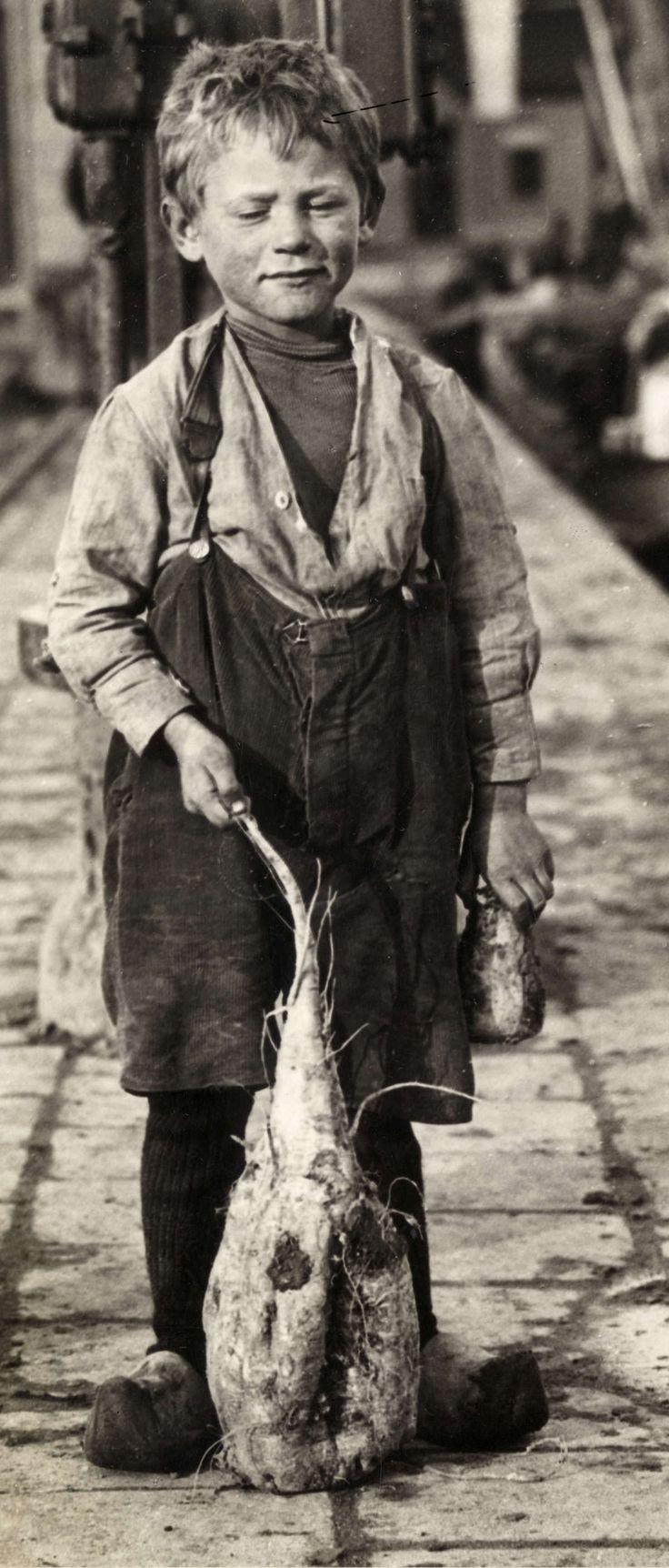 Suikerbieten. Jongen in niet al te schone kleding toont de grootste suikerbiet die ooit in de Wester Suikerfabriek is verwerkt. De biet weegt 3,5 kilogram. In zijn linkerhand toont hij een suikerbiet van normale afmeting. Foto 1924.