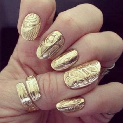 Gold plated #nail #bling anyone?