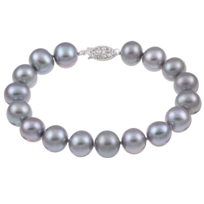 DaVonna Silver Grey FW Pearl 8-inch Bracelet (10-11 mm) - Overstock Shopping - Top Rated DaVonna Pearl Bracelets