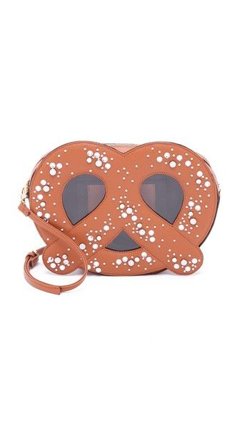 Beads and crystals mimic scattered salt on this pretzel-shaped Patricia Chang Handbag.