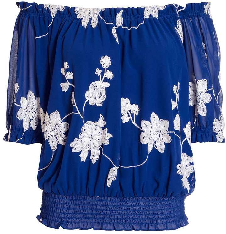 Quiz *Quiz Blue And White Floral Bardot Top