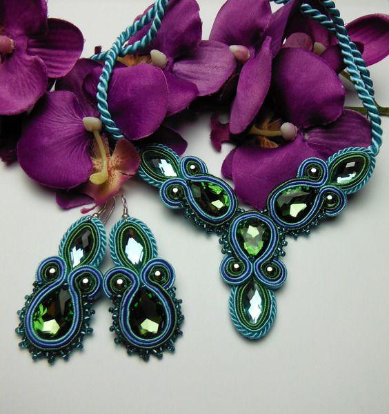 Crystal PEACOCK EYE earrings soutache necklace from Soutacheria by DaWanda.com