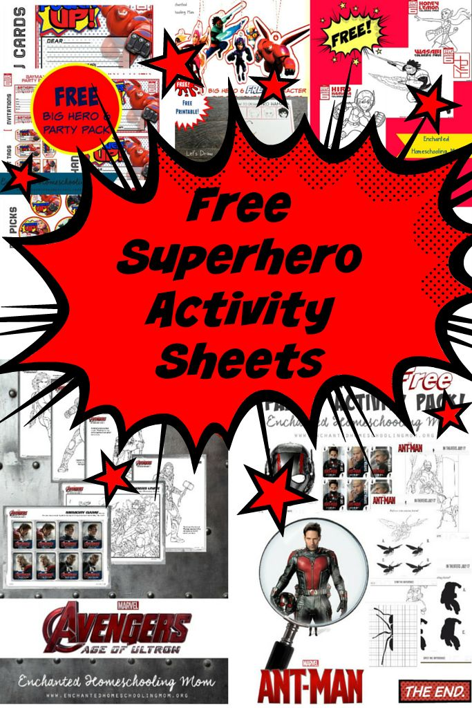 Free Superhero Activity Sheets Avengers Big Hero 6 and Antman Printables