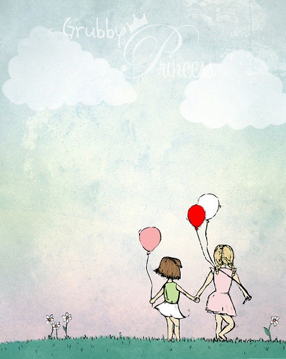 Kids Room Artwork - Girls with Balloons, wall art, pastels