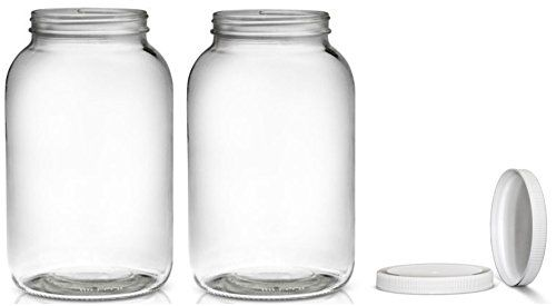 2 Pack ~ Wide Mouth 1 Gallon Clear Glass Jar - White Lid with Liner Seal for Fermenting Kombucha / Kefir, Storing and Canning / USDA Approved, Dishwasher Safe -- You can find more details by visiting the image link.