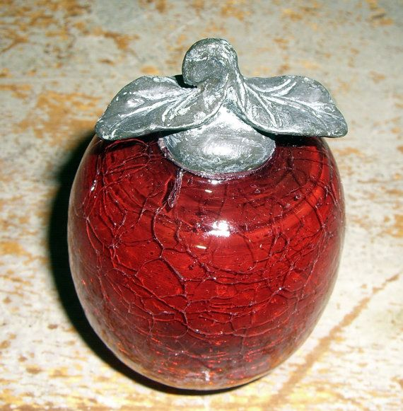 Vintage Figurine, Apple, Red, Crackle, Blown Glass, Red Glass Apple,  Paperweight