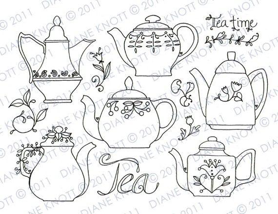 Sello digital / patron para bordar té tiempo por cottagebythepond