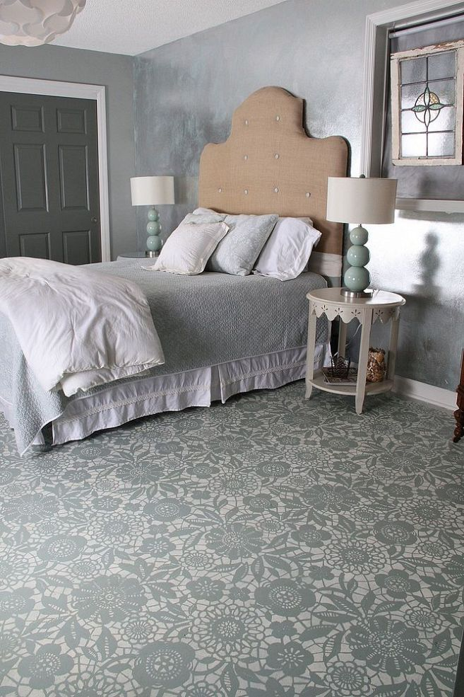 Goodbye Carpet  Hello Stenciled Floor With Annie Sloan Chalk Paint Best 25 Concrete bedroom floor ideas on Pinterest