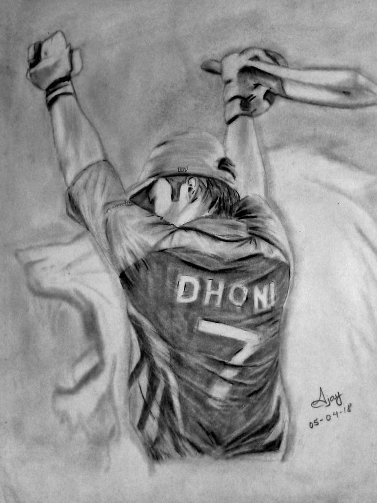 MS Dhoni Drawing in 2020 | Celebrity drawings, Girl ...