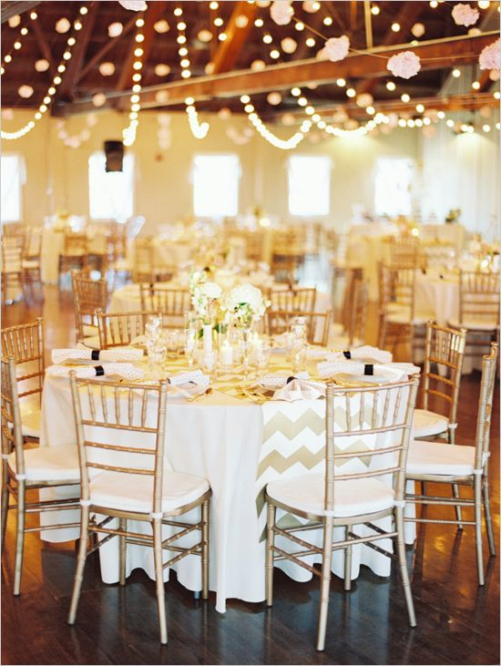 gold wedding reception ideas #weddingdecor #weddinglighting #weddingchicks http://www.weddingchicks.com/2014/04/04/black-tie-oregon-wedding/