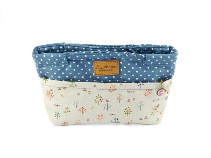 Water Resistance small handbag / bag organiser with personalised zip tab