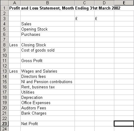 Free Downloadable Excel Balance Sheets   blank sheet and enter the following on the sheet