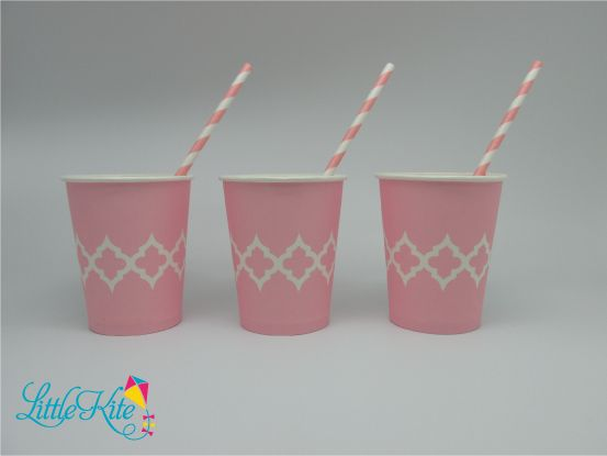 Beautiful baby pink Moroccan tile paper drinking party cups, with matching straws.