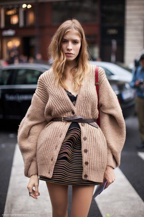 That's Chic...... ya NOT!!!!!: Big Sweaters, Knits Cardigans, Elenaperminova, Paris Fashion, Style Inspiration, Fashion Week, Street Style, Elena Perminova, Street Style
