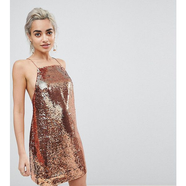ASOS PETITE Embellished Sequin Cami Mini Dress ($44) ❤ liked on Polyvore featuring dresses, gold, petite, short mini dress, asos cocktail dresses, short sequin dress, short petite dresses and square neck cami