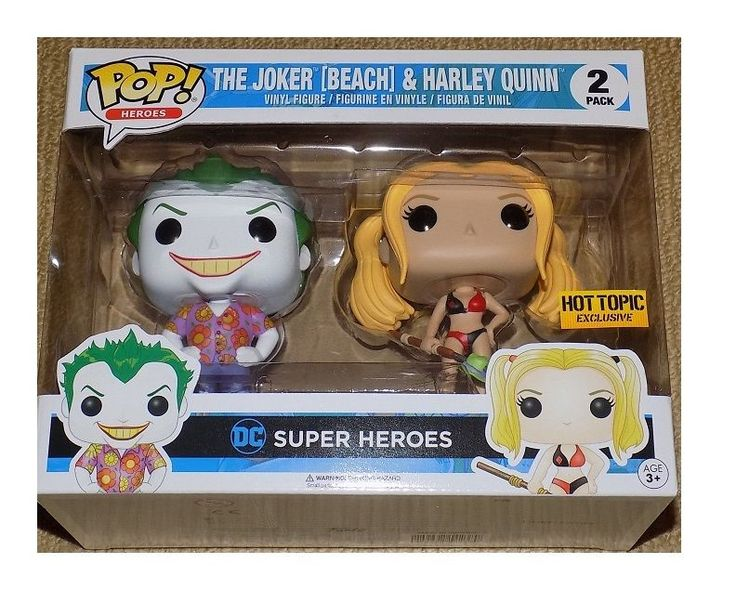 FUNKO pop HARLEY QUINN THE JOKER BEACH HEROES 2 PACK HOT TOPIC EXCLUSIVE