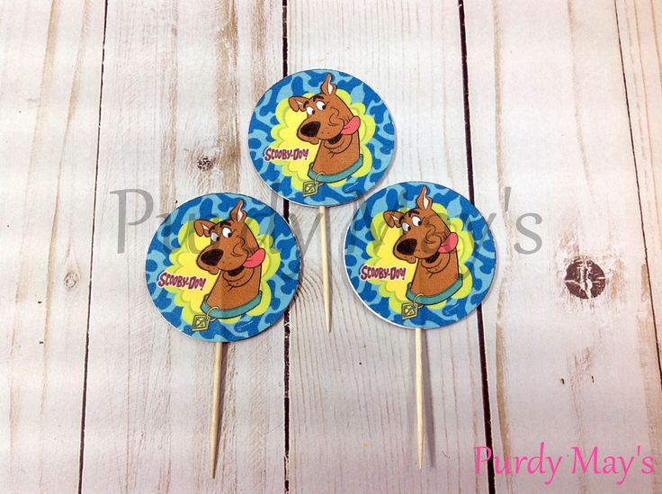 Scooby Doo Cupcake Toppers, Scooby Doo Cupcake Picks, Scooby Doo Birthday Party, Scooby Doo Party Supplies, Scooby Doo Party, Set of Twelve by PurdyMays on Etsy https://www.etsy.com/listing/546414654/scooby-doo-cupcake-toppers-scooby-doo