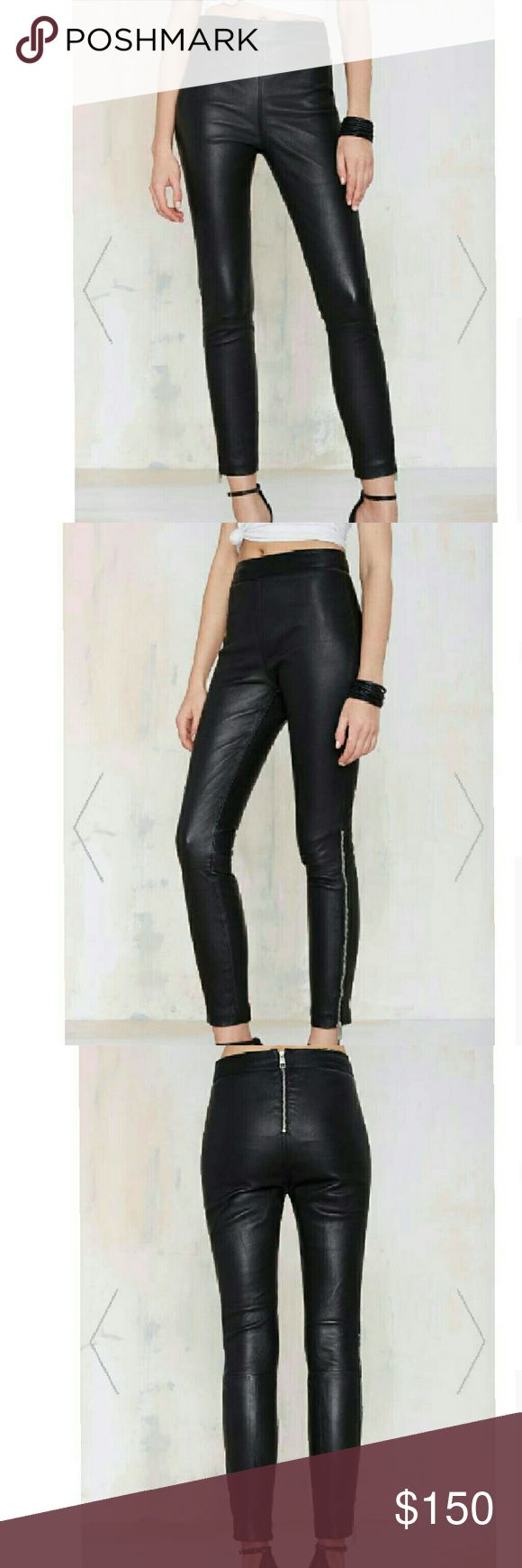NASTY GAL AGAINST THE MACHINE LEATHER SKINNY PANTS Nasty Gal / The against the machine skinnies have custom matter silver zip closure at back and ankles, paneled detailing and full lining. Nasty Gal Pants Skinny