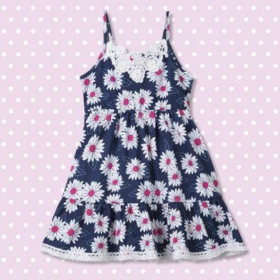 Pumpkin Patch Knit Daisy Print Dress - 100% cotton, available in sizes 12-18m to 6 years http://www.pumpkinpatchkids.com/