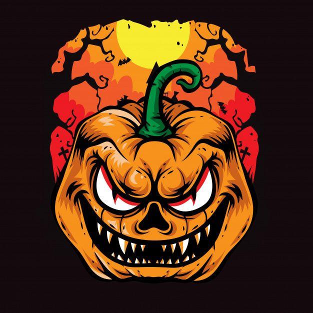 Calabazas De Miedo Halloween Ilustracion Premium Vector Freepik Vector Logo Halloween Icono Caracter Halloween Logo Scary Pumpkin Coloring Pages