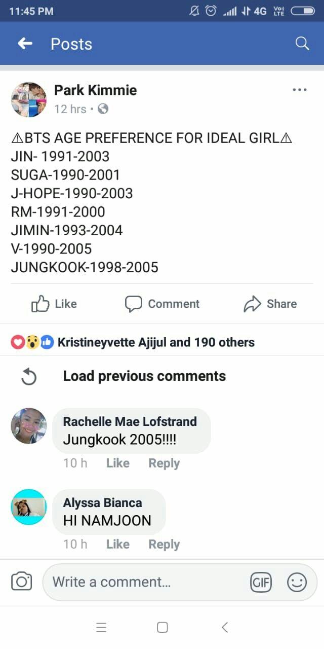 Bts Age Preference Bts And K Pop In 2019 Bts Ages Bts Kpop