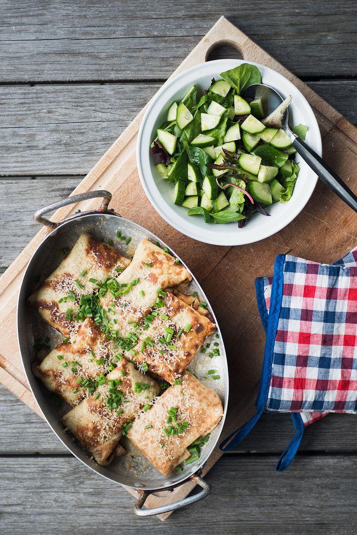 Fyldte pandekager, eller crepe, er lækkert. I den her vegetariske opskrift er pandekagerne fyldte med kantareller, champignoner og friske urter.