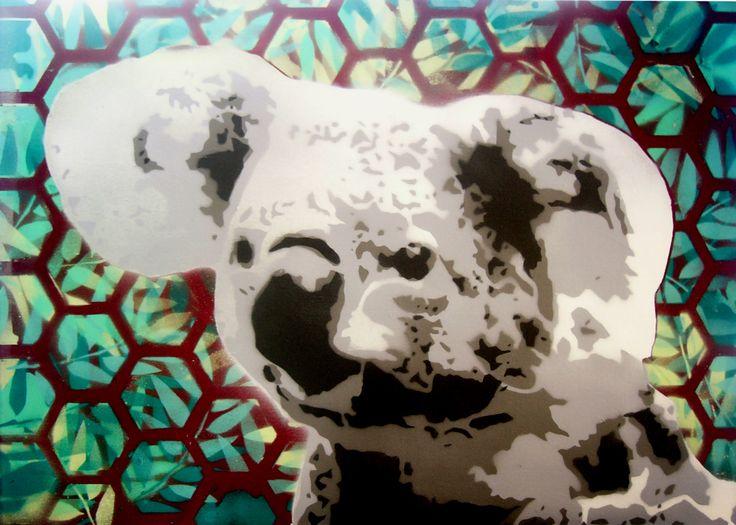 """""""KOALA ATTACK!"""" multi-layer on 50x70 cm canvas"""
