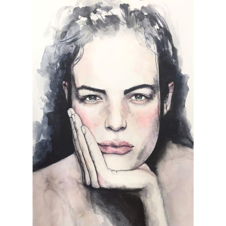 Watercolor portrait painting  #art #watercolour #woman