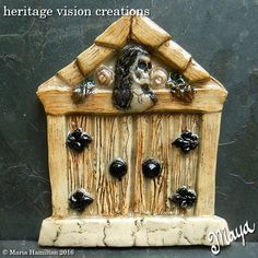 Crypt Door #1 | Day of the Dead Fairy Garden Door for Tree or Halloween Decor by HeritageVision on Etsy