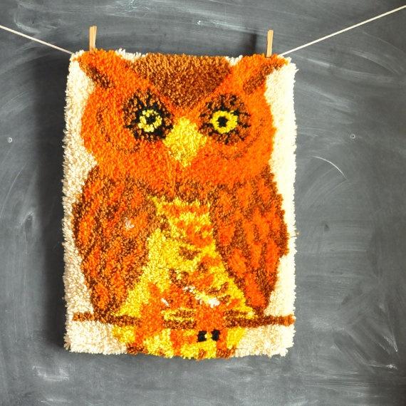Vintage Handmade Latch Hook Rug Orange Owl Wall by drowsySwords, $50.00