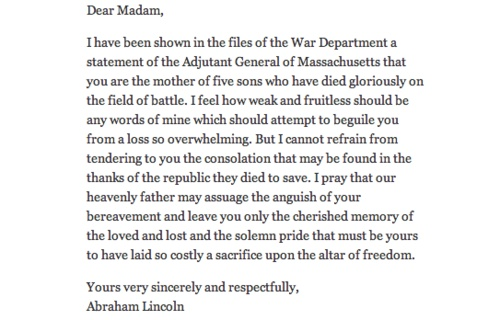 Abraham Lincolnu0027s letter to MS Lydia Bixby, who lost 5 sons in the - disagreement letter