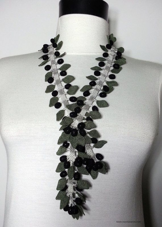 Olive Branch Necklace  Necklace  Needle Lace by NazoDesign on Etsy, $210.00