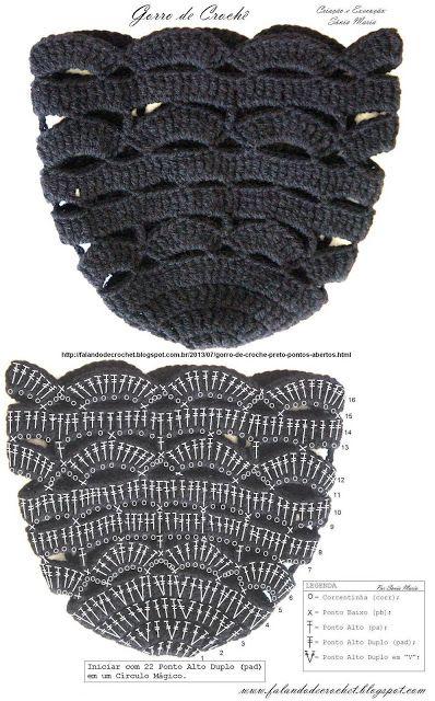 #hat   Gorro de crochê Pontos Abertos com Grafico       ♪ ♪ ... #inspiration_crochet #diy GB