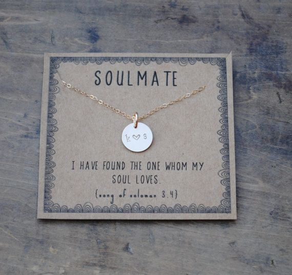 soulmate initial necklace . silver or goldfill layering | Etsy