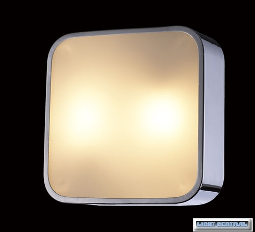 T5 32W Fluorescent Oyster Ceiling Light with Chrome Finish & Opal Glass