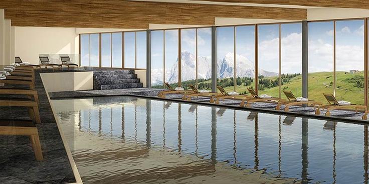 Piscina panoramica dell'hotel Alpina Dolomites Lodge - Alpe di Siusi