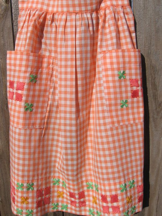 Vintage Orange Gingham and Embroidered Apron by jenEembroidery, $18.00