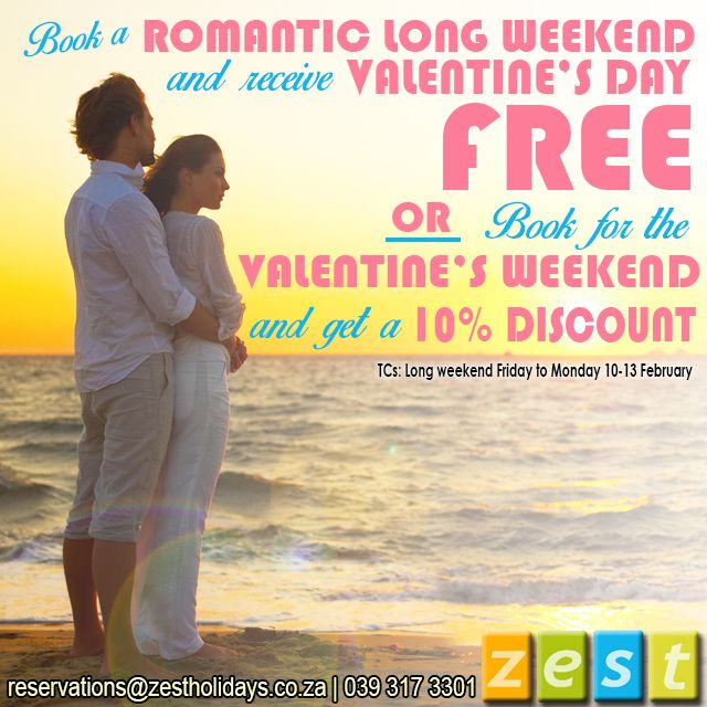 Celebrate your love and book a romantic getaway at a Zest Holidays and save big with our Valentines Specials! reservations@zestholidays.co.za | 039 317-3301 | www.zestholidays.co.za