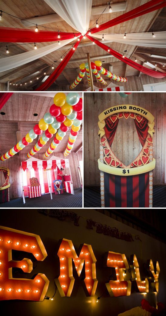 Nice decorations if fall colors...skip the kissing booth.