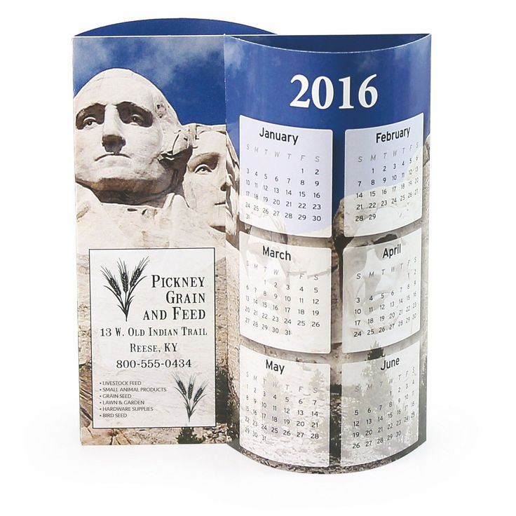 """Award winning """"WAVE 3-D Calendars"""" are available in 5 stock designs or completely custom, all for the same low price and a low 50 piece minimum. Simply connect the tabs for a great stand-alone 3-D calendar with 6 months per side. Stock designs have different photos on each side along with your custom imprint in any color, black will be printed unless otherwise specified. Free design templates available. Free mailing envelopes included, calendars not inserted."""