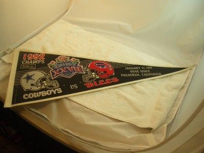 "Vintage Throwback Cowboys vs Bills Super Bowl 27 XXVII 12 x 30"" Wool Pennant 