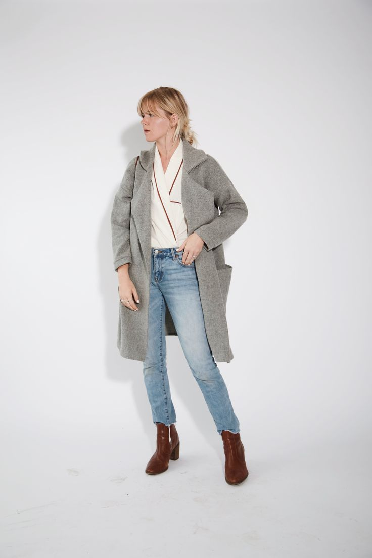 House design jacket - Hackwith Design House Wool Blend Jacket Featuring Patch Style Pockets Oversized Lapel Collar